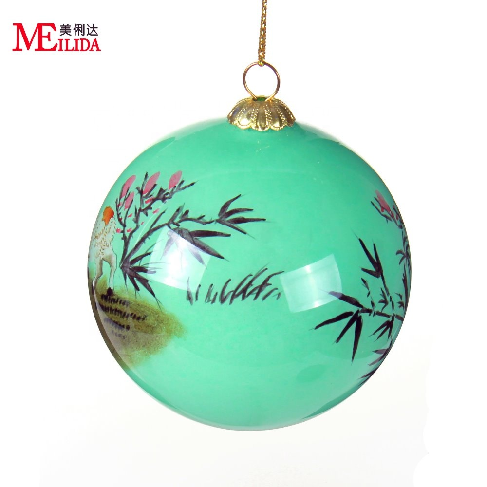 8cm glass hand painted Christmas ornaments decorations green purple blue Box of 4
