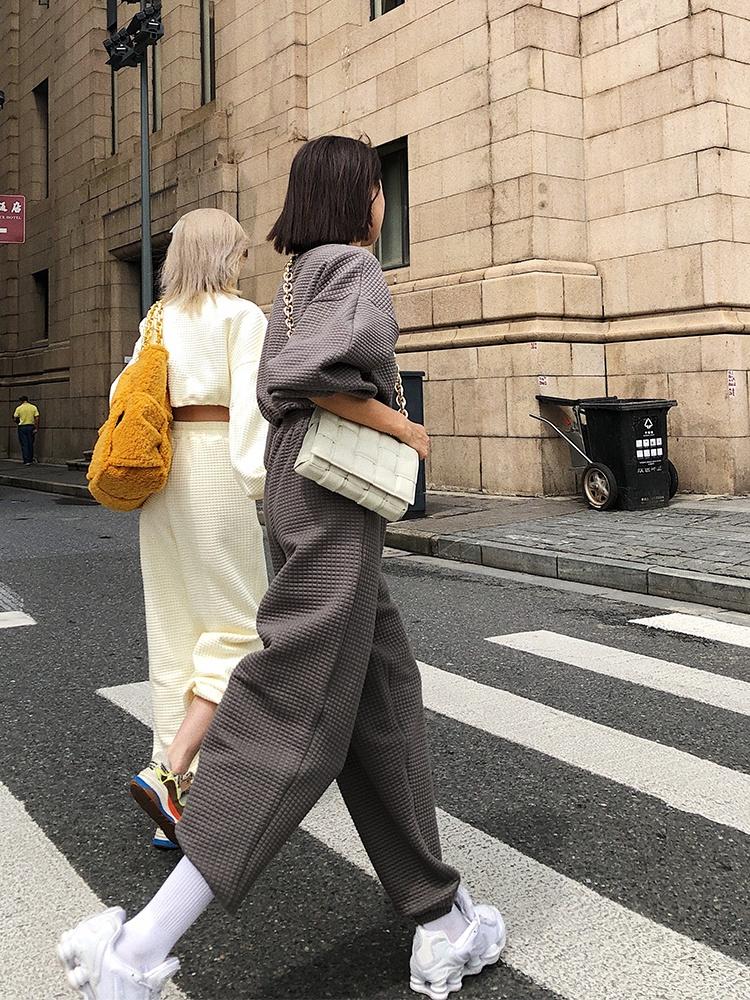 Осенние мужские и женские толстовки, пальто на молнии, свитер из вафельной ткани с вышивкой, женские комплекты из свитшота