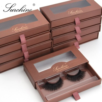 Eyelash vendor wing bridal 3d synthetic natural false eyelashes with private label custom logo drawer brown lash packaging box