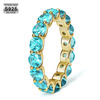 14k Gold  925 Sterling Silver Blue Iced Out Tennis Ring