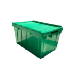 Custom Logo Green Plastic Storage Create Industrial Moving Crate With Lid Nestable