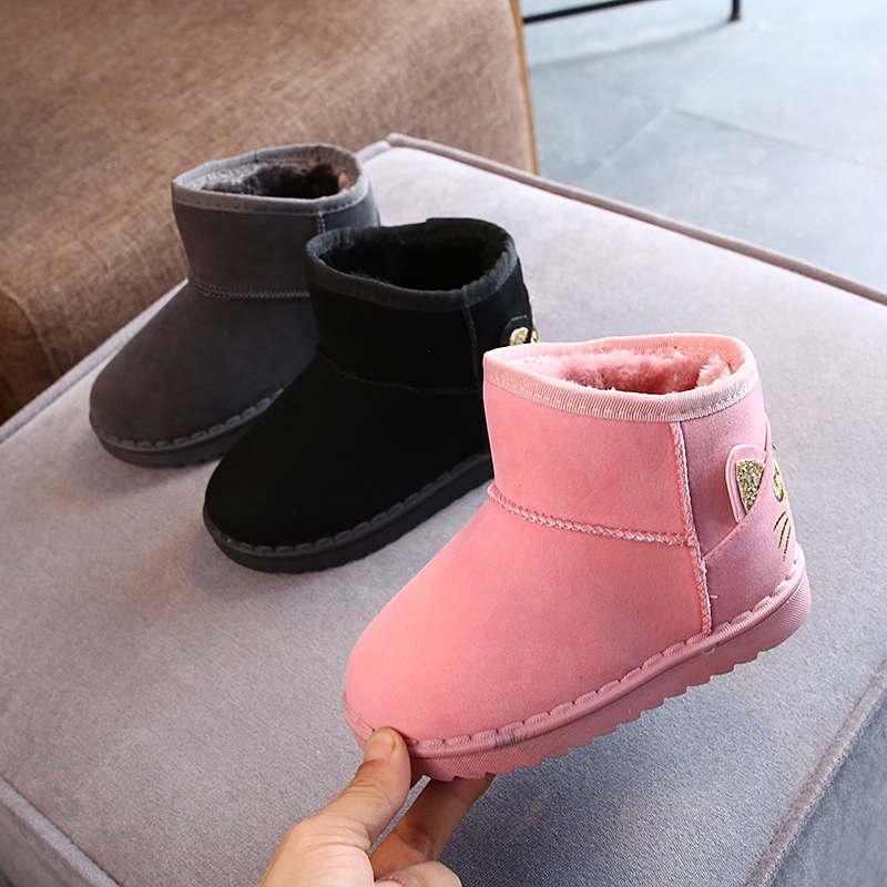 2021 winter snow cat patten shoes for kids warm ling with cotton