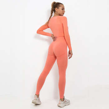 Ladies fitness apparel 2 piece set women sports suit activewear elasticated training yoga sets