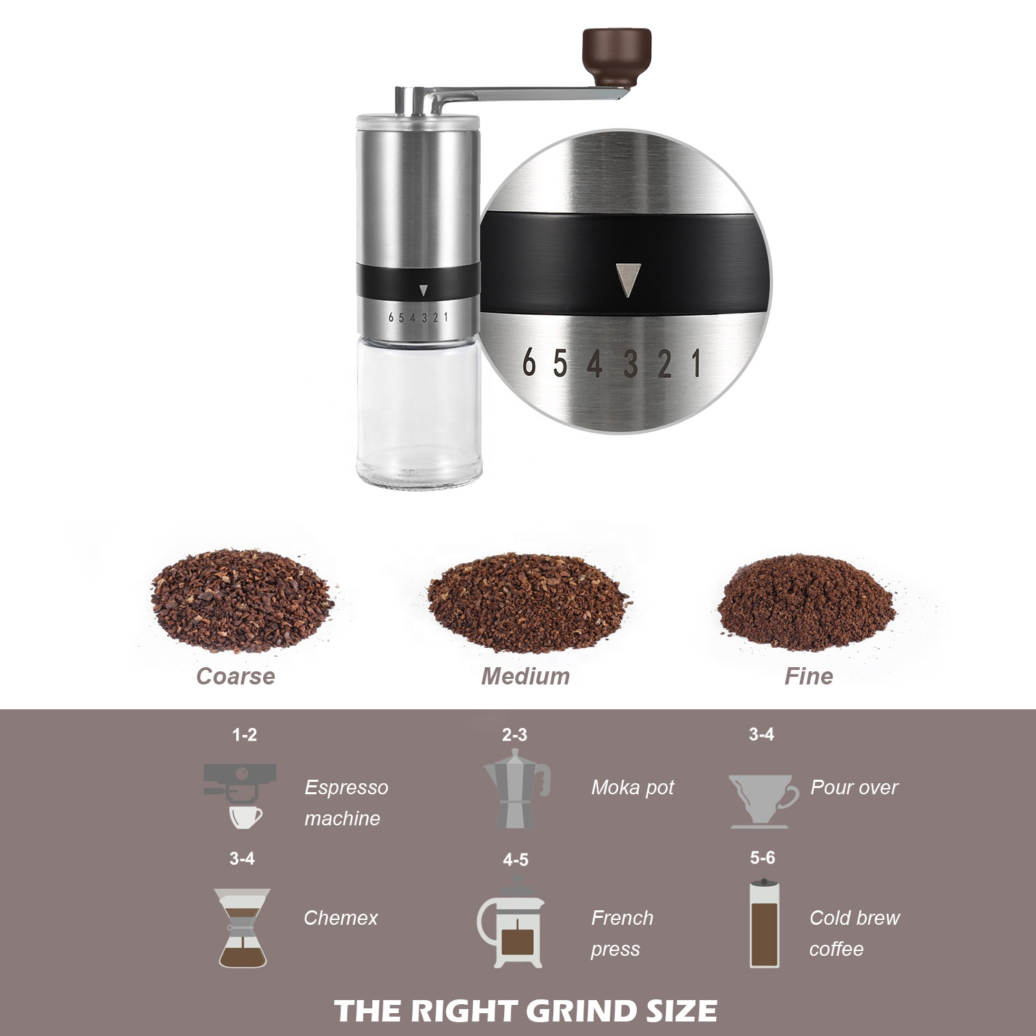 2021 New Arrivals Amazon Top Seller High Quality Mini Portable Manual Coffee Grinder with 304 Stainless Steel Adjustable Ring