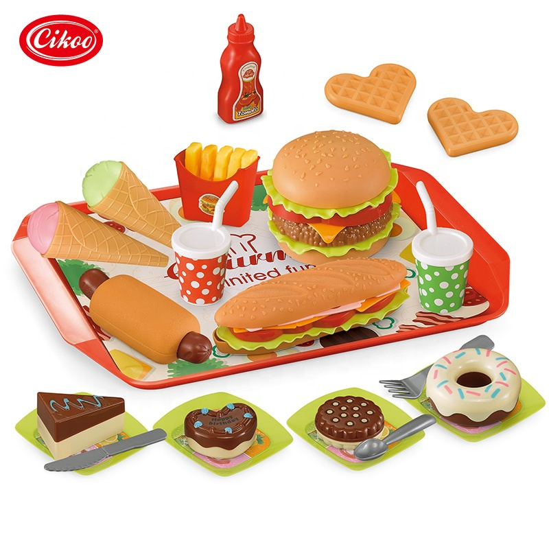 Hot Amazon wholesale kids preschool 49pcs play food set plastic realistic kitchen toy