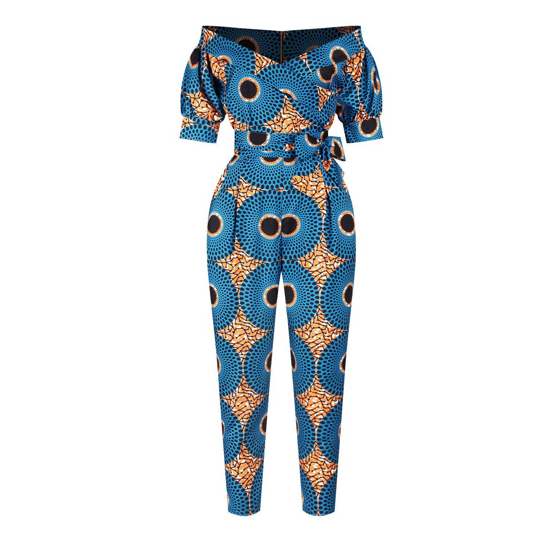 Осень в африканском стиле цифровая печать фонарь рукав повседневные брюки с открытыми плечами леди сексуальный комбинезон