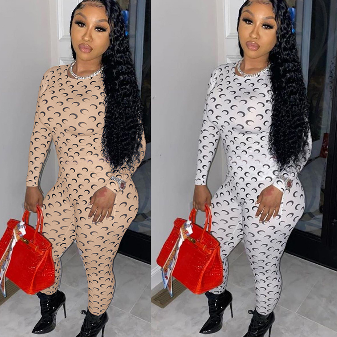 MXN Moon printed jumpsuit women long sleeve bodycon rompers streetwear fashion clothing jumpsuits