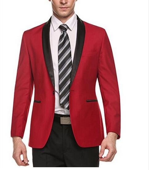 Red Mens Suits Black Shawl Lapel Jacket Formal Casual Slim Fit Coat One Button Grooms Wedding Prom Blazer Men Business Suit Coat Buy Formal Coat Pant Suits Prom Suits Slim Fit Suits Product