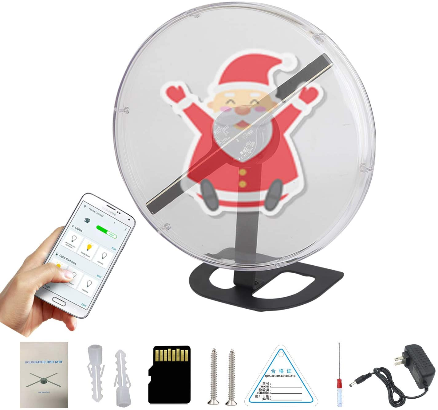 Moving Advertising Machine 3D Hologram Display Fan with Backpack and Rechargeable Battery Portable Air Hologram Projection 42cm