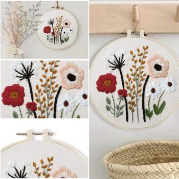 Easy Flower Embroidery Kit with Bamboo Hoop DIY Handmade Kit Cross -Stitch Needlework for Beginner Sewing Painting Home Decor