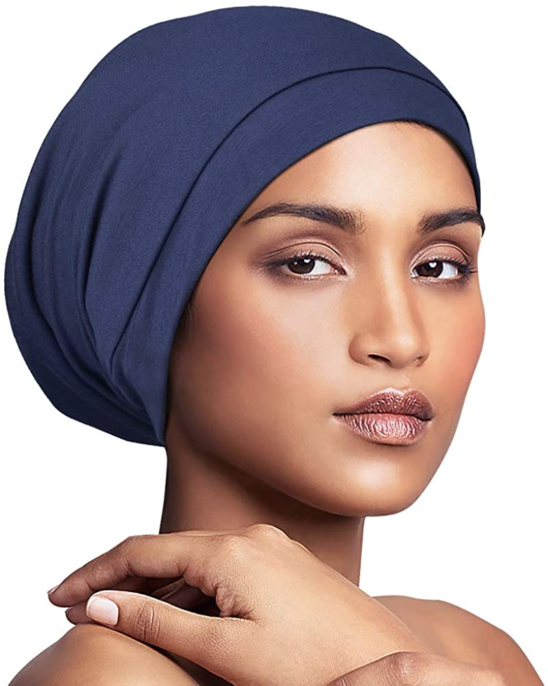 Satin Silky Bonnet Sleep Cap with Premium Elastic Band For Women Solid Color Head Wrap Brimmed Nightcap Night Hat