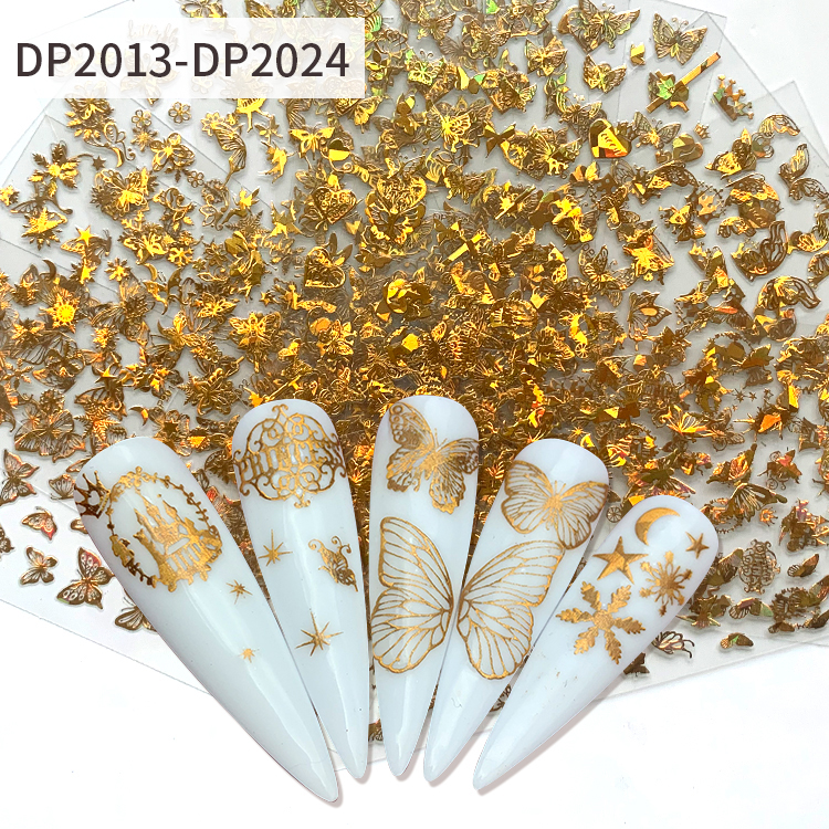Hot sale Metallic Gold Butterfly Nail Art Stickers NAIL accessory