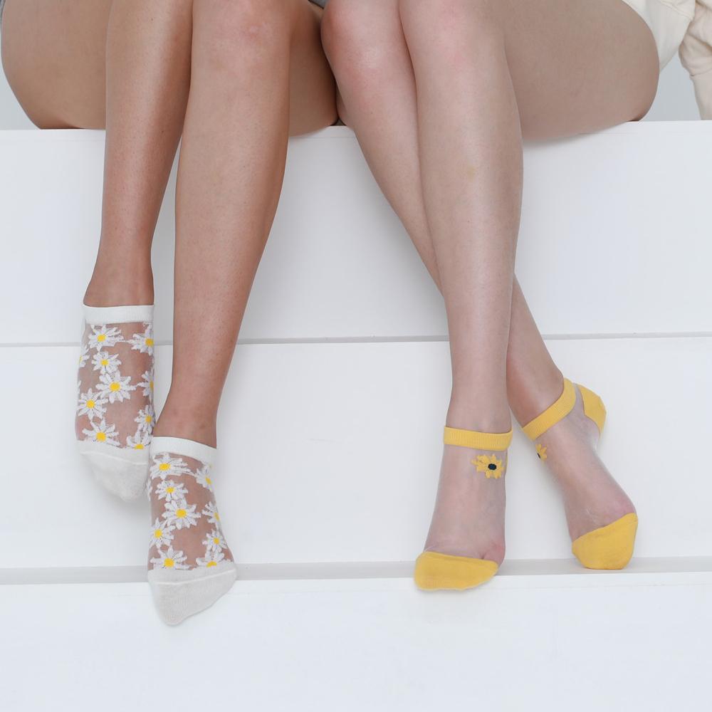 Оптовая продажа, сетчатые носки с низким вырезом, прозрачные модные летние женские шелковые носки с ромашками из стекловолокна