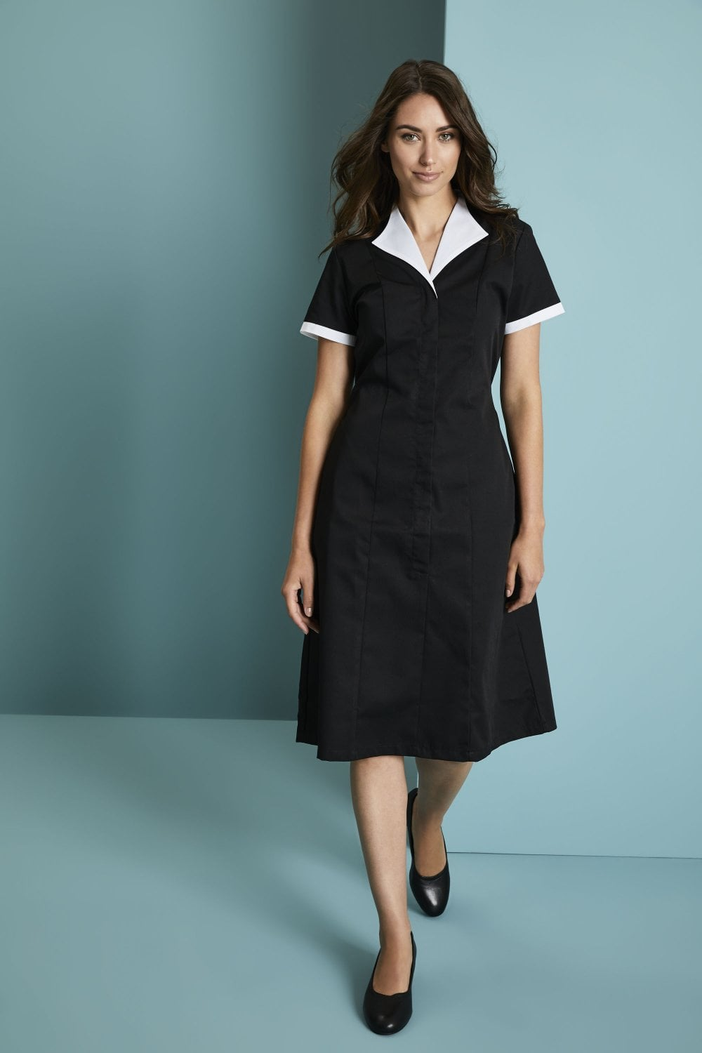 Black cleaning uniform staff uniform for cleaning worker housekeeping tunic with white trim