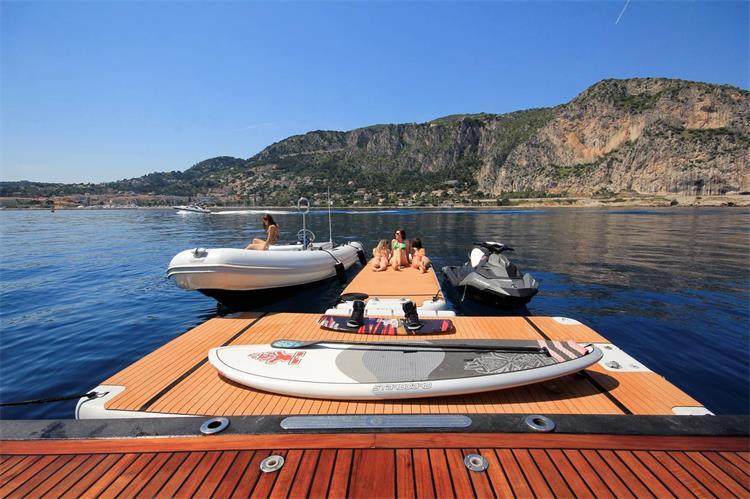 4x2x0.2m Teak Drop Stitch Custom Inflatable Jetski Dock, Inflatable Water floating mat Pontoon Platform For Yacht
