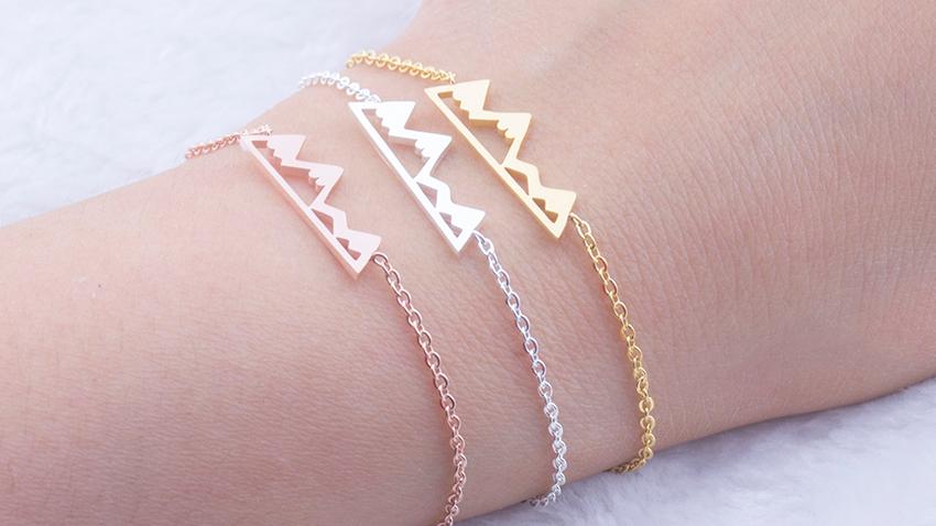 Bracelets Pour Les Femmes Bijoux De Mode Or Rose Montagne Bracelet Charme Chaîne En Acier Inoxydable Accessoires Meilleurs Cadeaux Ami Bff