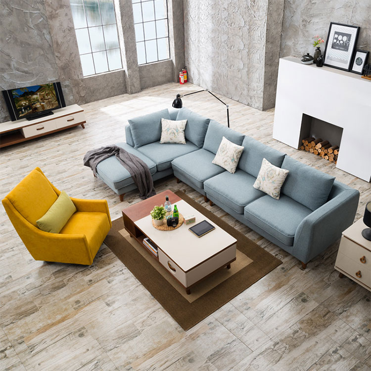 Simple cloth art sofa combination small family can be dismantled and washed Nordic L sofa modern sitting room corner sofa