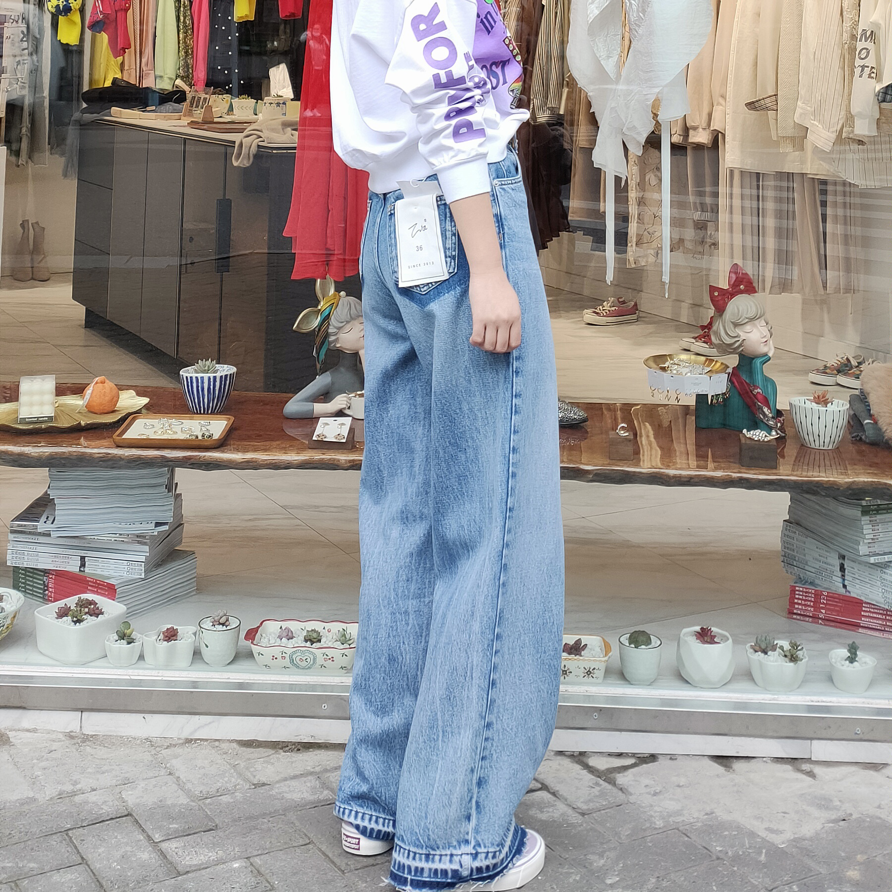Women Simple Loose Washed Blue High Waist Denim Jeans Pants