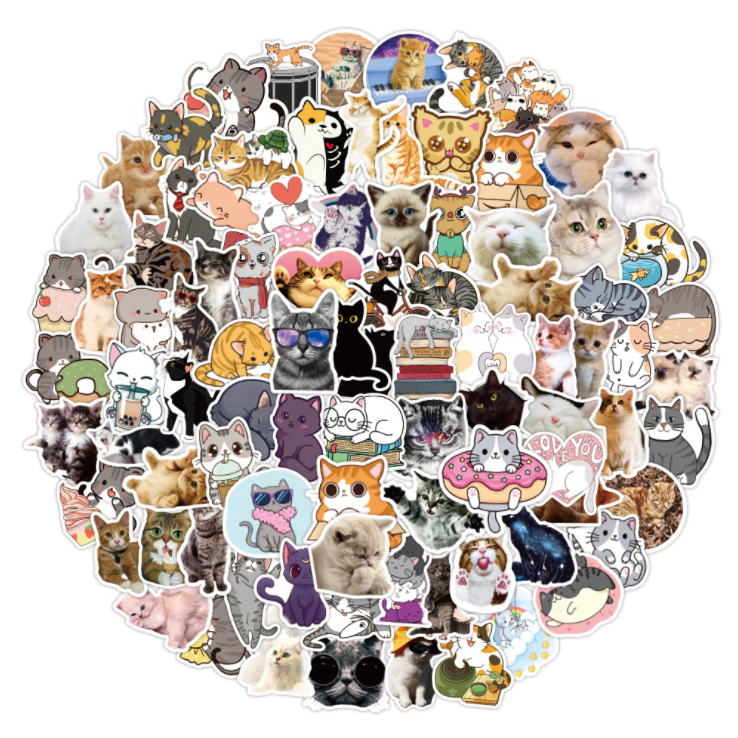 100PCS  Pet Animal Stickers For Kids Kawaii Stickers For Girls Cats Cute Sticker For Skateboard Laptops Cartoon Print Sweet