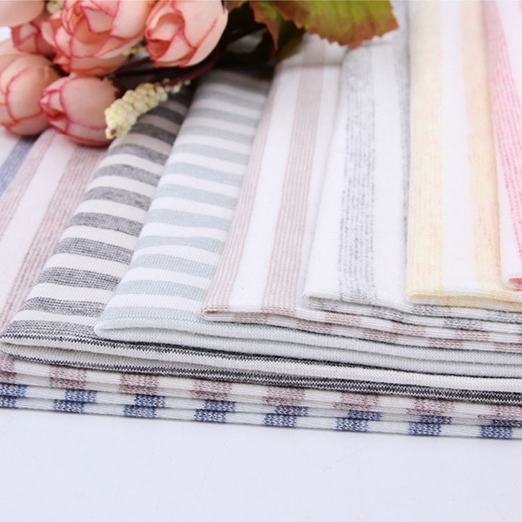 Popular antistatic yarn dyed pastel organic cotton spandex stripes jersey with stretch for home textile