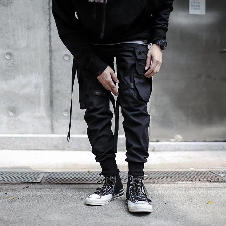Мужские черные зауженные спортивные брюки с логотипом на заказ, высокого качества, с несколькими карманами, хлопковые Саржевые брюки-карго с лентой