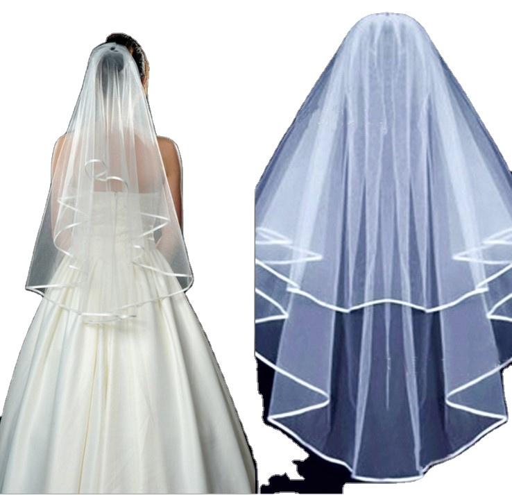 Двухслойная Фата с гребнем, однотонная мягкая Тюлевая Короткая Свадебная, Белый/цвет слоновой кости