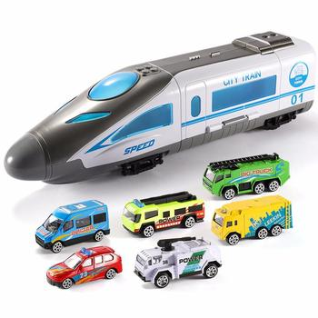 Children Collection Gift 1/64 Scale Magnetic Subway Train Modern Bullet City Kids High Speed Railway Train with Lights and Music
