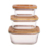 Eco-Friendly meal prep bamboo glass container with silicon ring