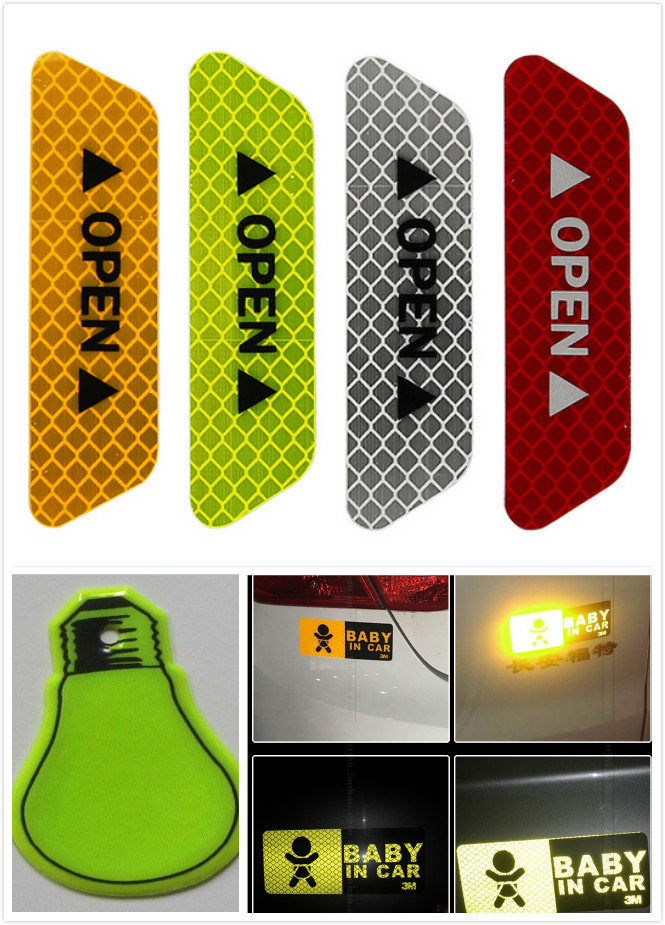 custom design colorful fluorescent black and white logo waterproof car body pvc decal paper sticker for cars safety decoration
