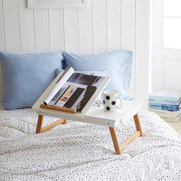 Бамбуковый деревянный компьютерный стол для кровати, образец, сервировка завтрака, стол для ноутбука, рабочая станция, лоток, органайзер для хранения с выдвижными ножками