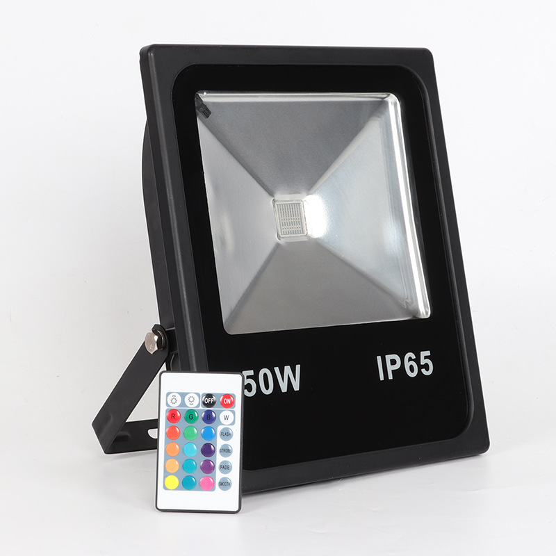 50W 100W RGB LED Flood Light Outdoor Waterproof spotlight Color Changing Dimmable Wall Lights with Remote Controller