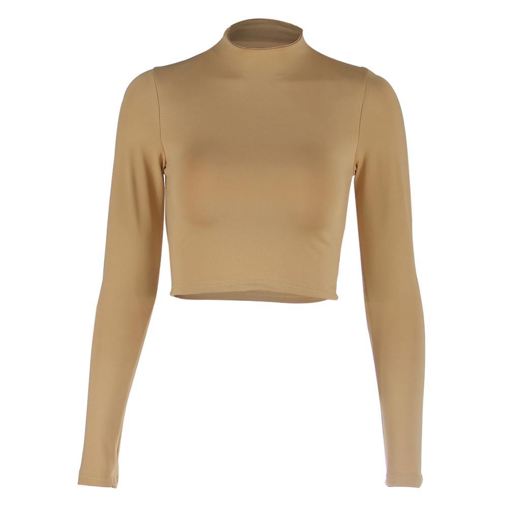 Wholesale Custom Mujer High Neck Blank Plain Sexy Long Sleeve Women Crop Top