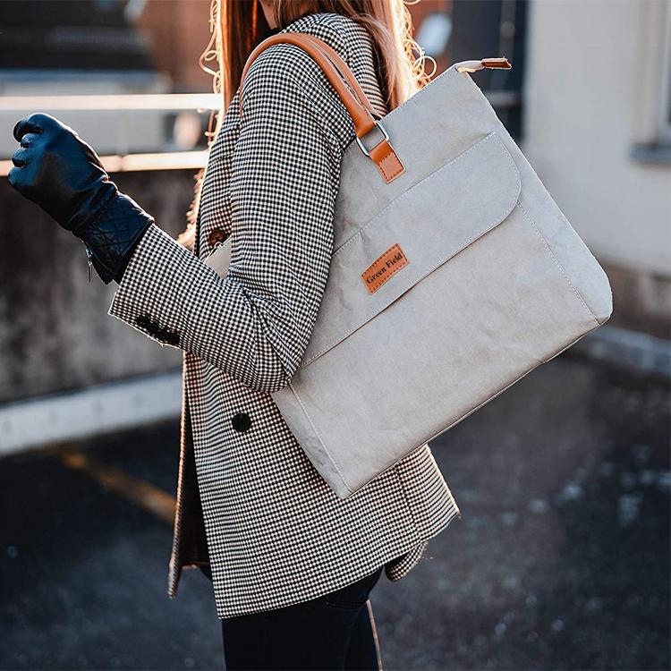 Индивидуальная офисная Сумка-тоут, серые моющиеся рабочие сумки из крафт-бумаги, портфель для ноутбука, сумка для женщин и мужчин