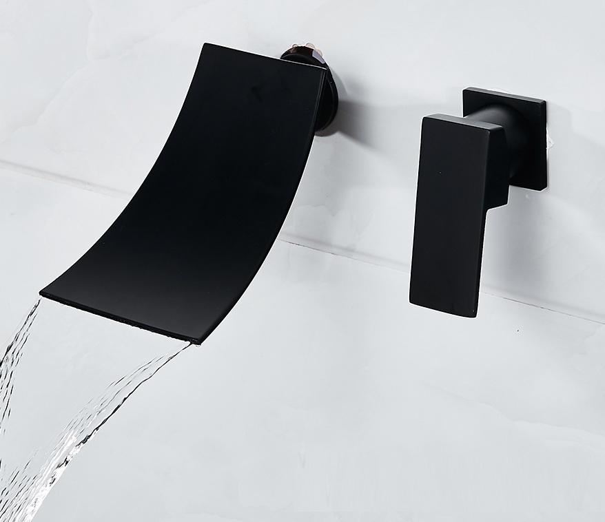 Смеситель A0074B с керамическим картриджем, однорычажный кран, настенное крепление, Черный кран «Водопад» для раковины