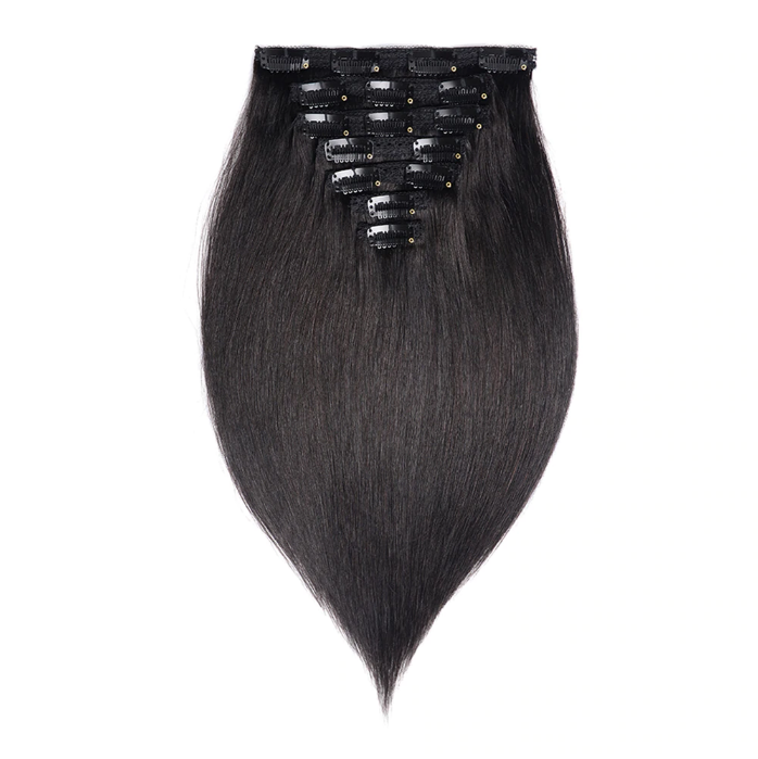 Full Head Brazilian Machine Remy Clip in Hair Extensions Human Hair 100% Real Natural Hairpiece Clips On 120G 14 To 22