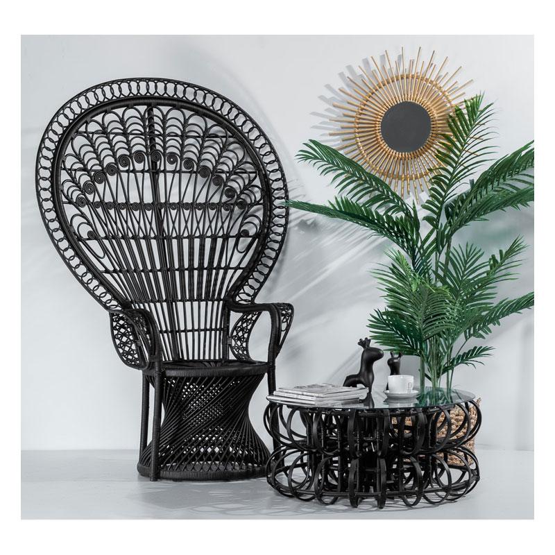 Уличная мебель в индонезийском стиле, садовый ротанговый стул, плетеный стул ручной работы с павлином
