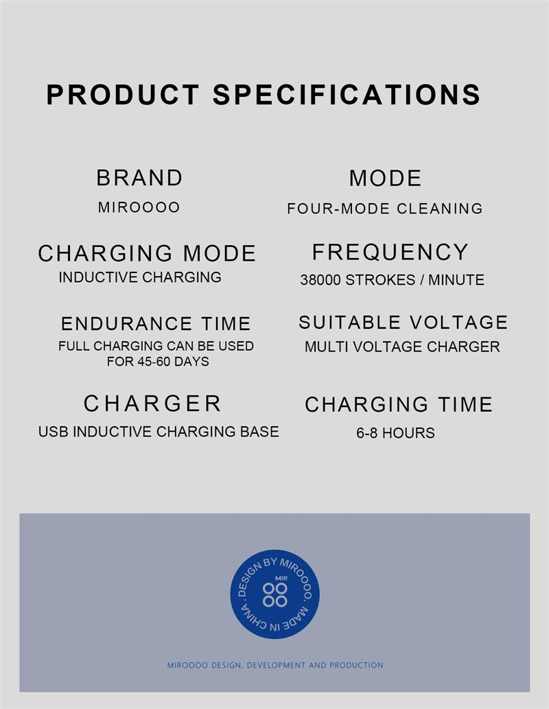 Miroooo Wireless rechargeable Sonic Toothbrush  Electric 4 Mode Cleaning with 60 Days Endurance of use