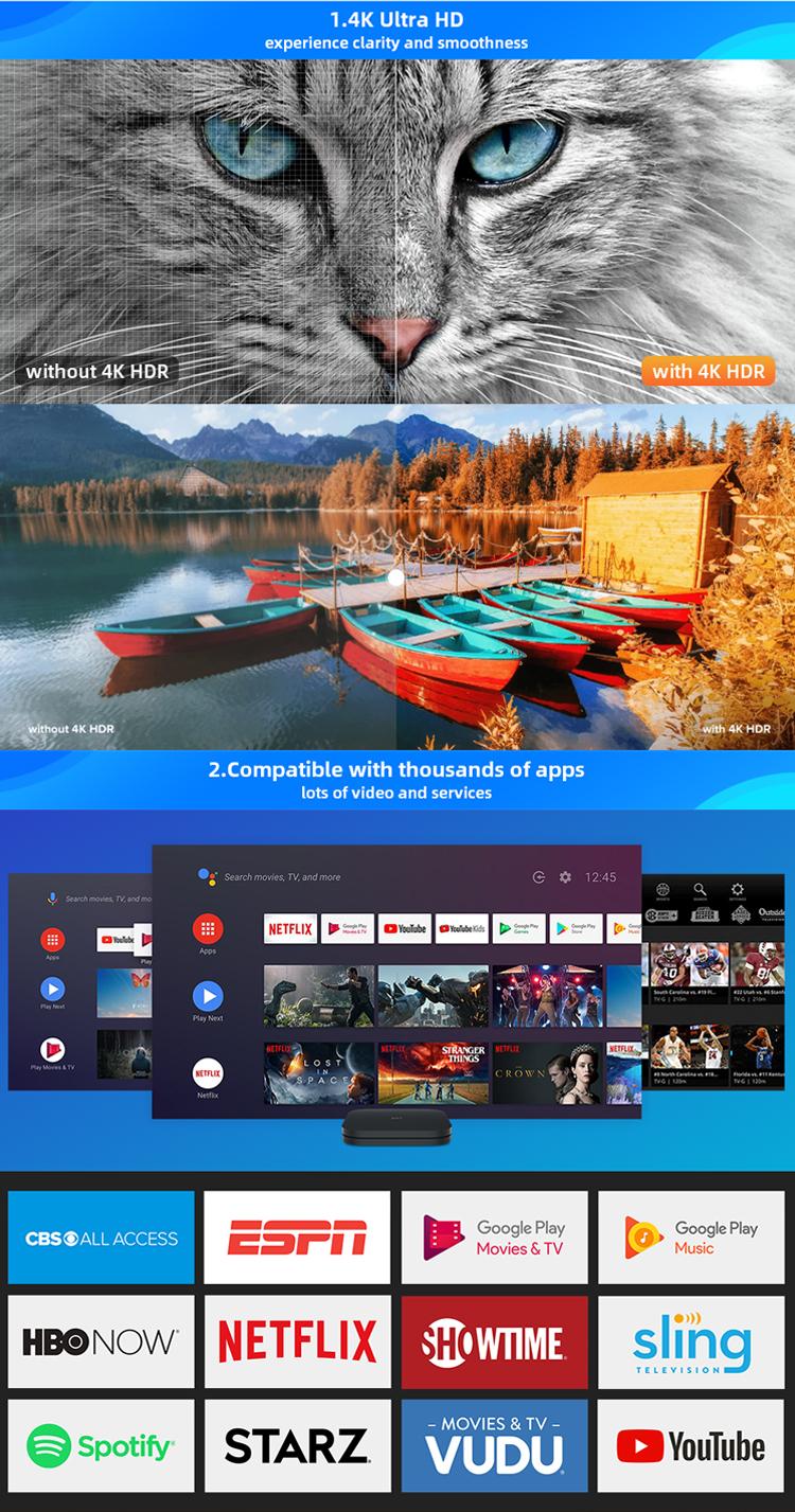 Xiaomi 4k الذكية 10 الترا النسخة العالمية جوجل رباعية النواة Hd Led راديو مشغل الوسائط المتدفق التلفزيون مي بوكس S الروبوت تعيين كبار مربع