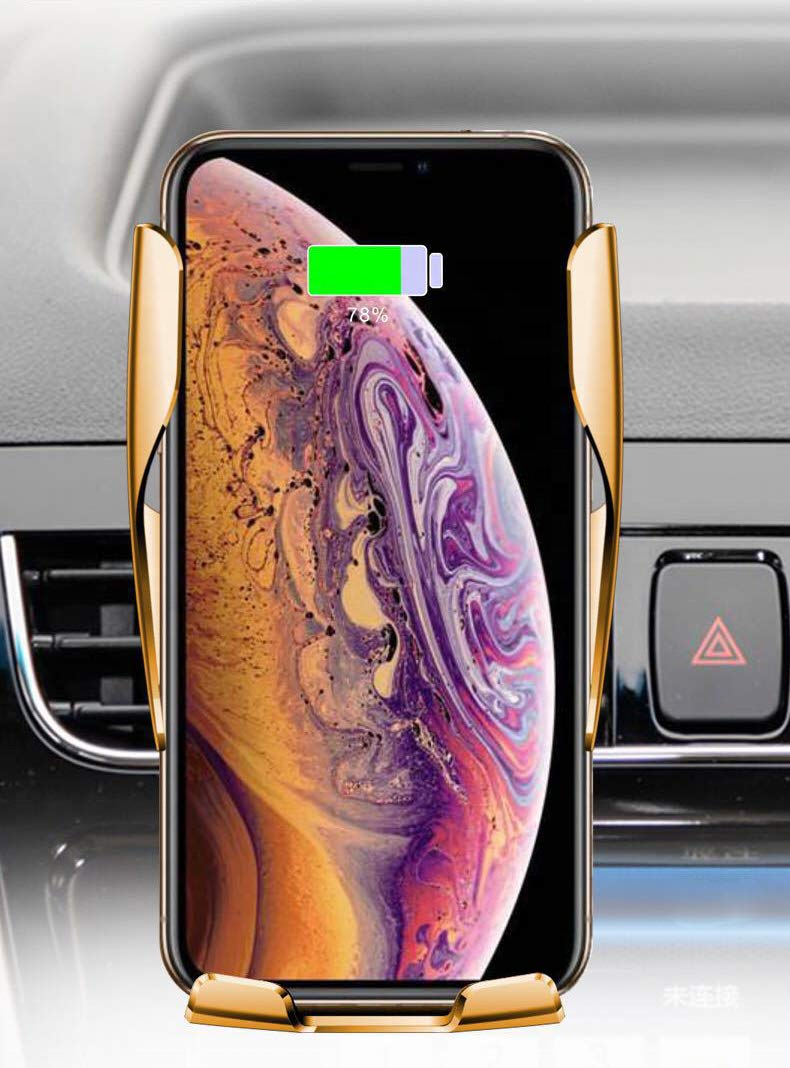 Fast QI car charger Automatic clamping Fast charging Phone Holder Mount for iPhone Huawei Samsung 10W wireless car charger R1