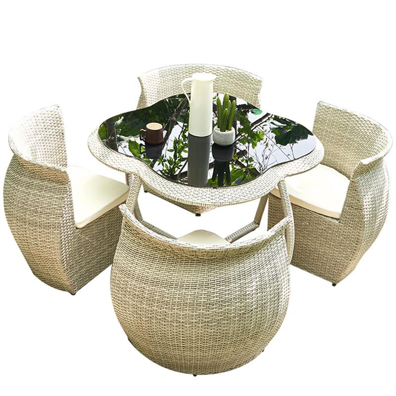 Уличный стол и стул для двора, террасы, сада, плетеное железное плетеное кресло для отдыха на балконе, водонепроницаемое и солнцезащитное