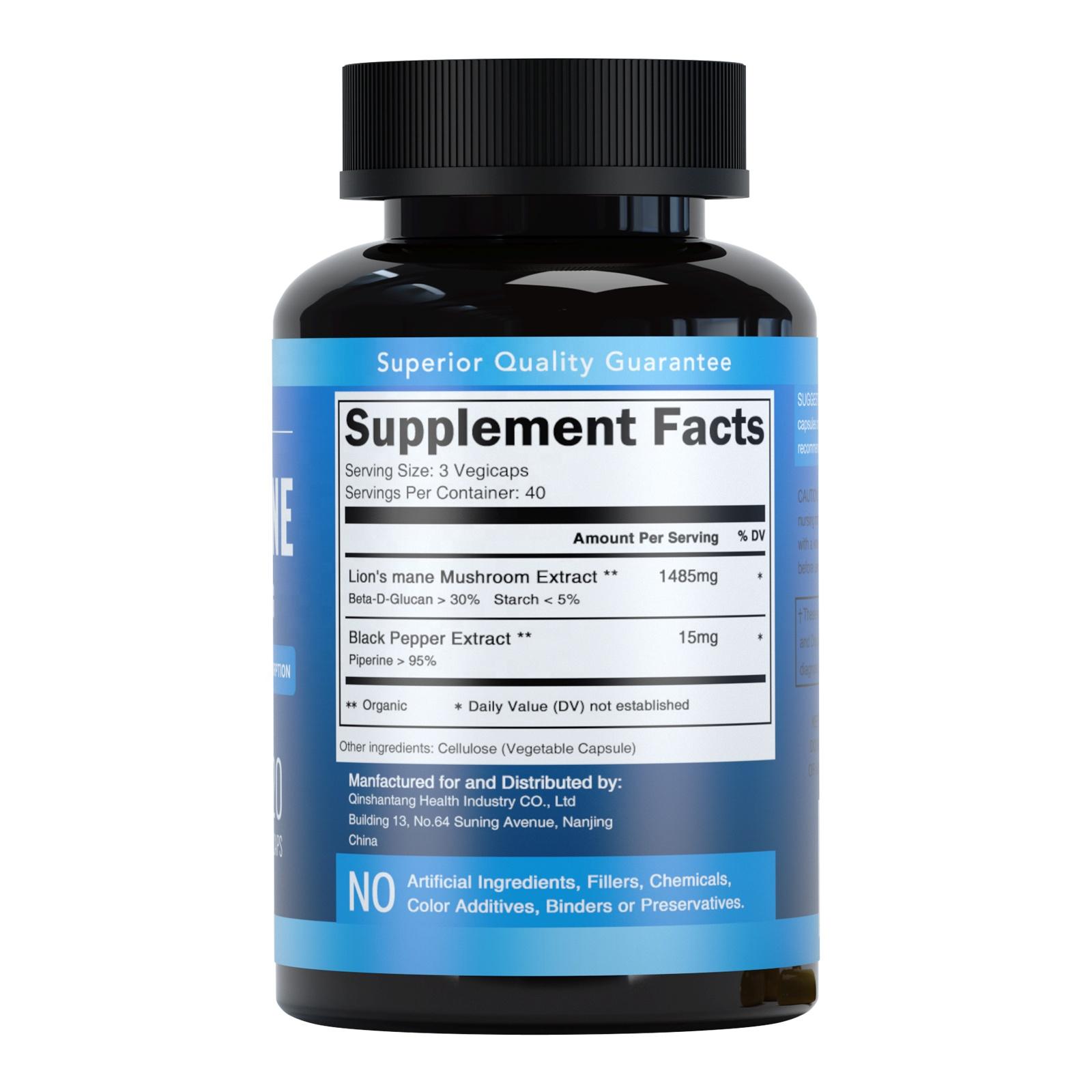Private Label Organic Nootropic Brain Supplement 1500 mg Lions mane Hericium Mushroom Extract Powder Capsules