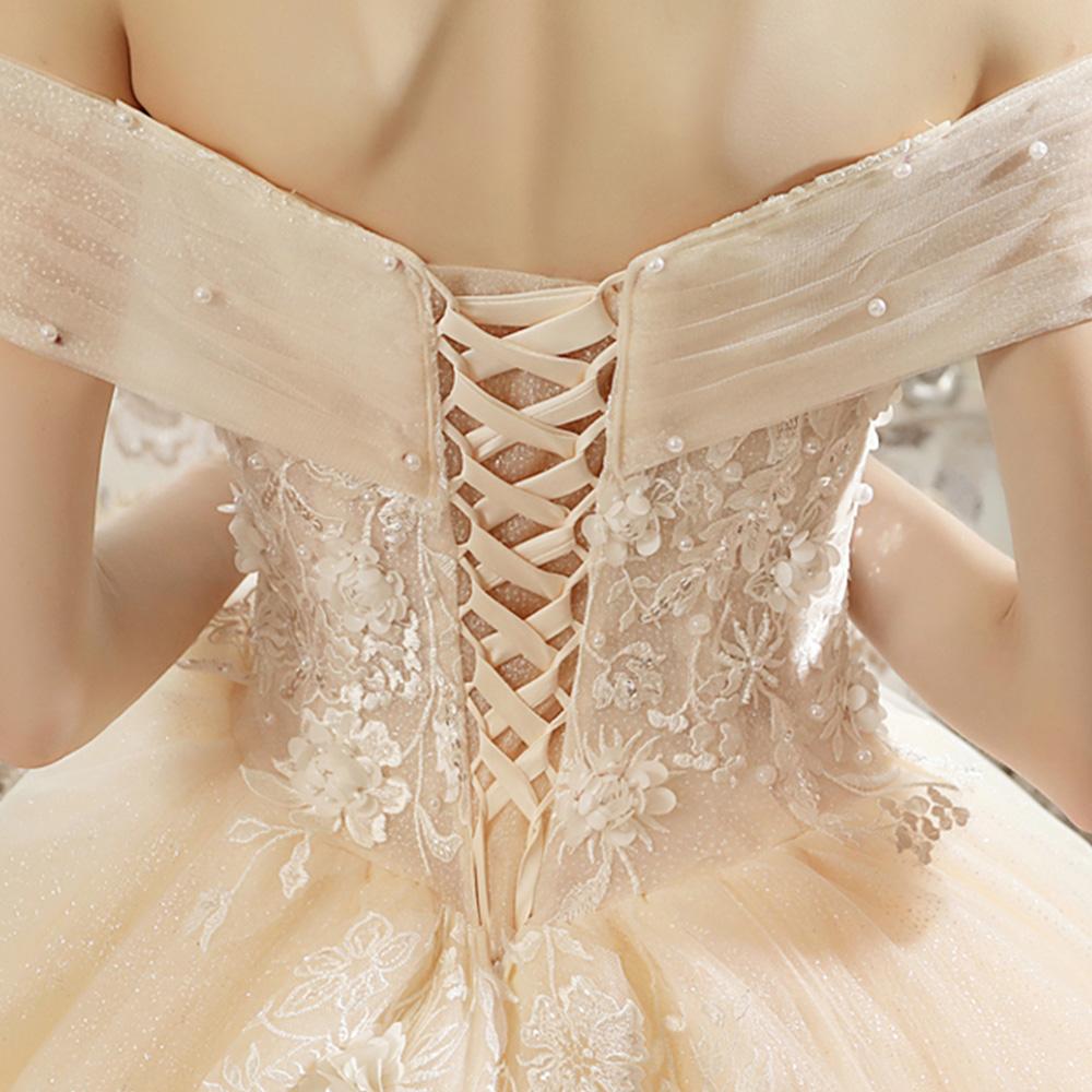 Великолепное бальное платье Свадебные платья с длинным шлейфом платье принцессы жемчужные аппликации цветы Свадебные платья Alibaba