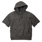 Mens custom Charcoal grey cotton/poly fleece 1x1 rib knit hem Cut-off sleeves Front pouch pocket Short Sleeve Hooded SweatShirt