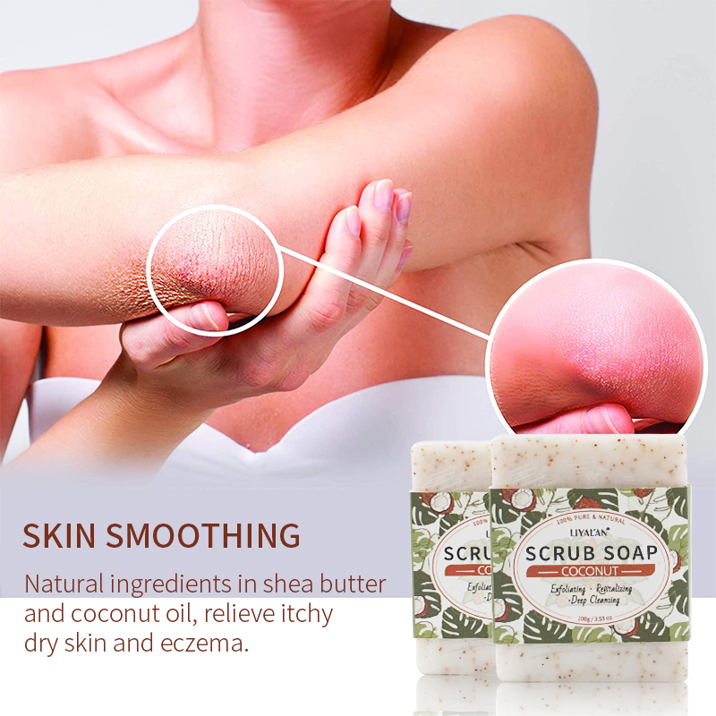 Body Scrub Soap Bar Made with Natural Ingredients Extract Amazing Scent Coconut Scrub Soap Support Private Label