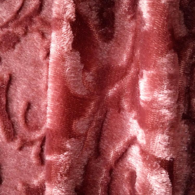 glitter beautiful spray flower patterns wine red colour pv plush fabric
