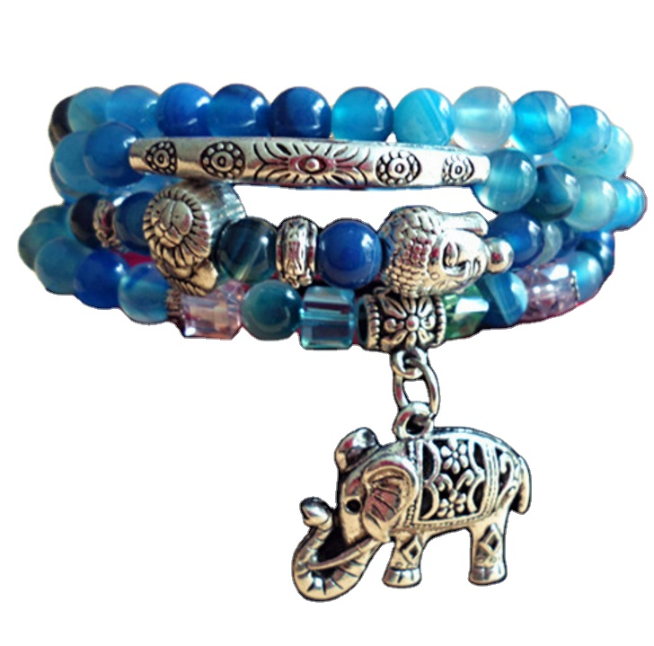 Special Gift Blue Agate, Crystal, Elephant And Beaded Bracelet