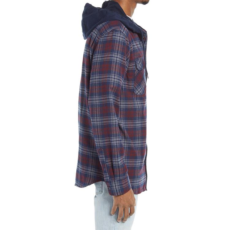 OEM custom men's plaid longline shirt loose flannel hood shirt for men