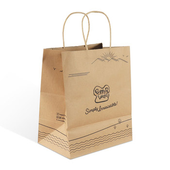 brand brown craft kraft paper shopping flat handle packaging gift bag with customised logo