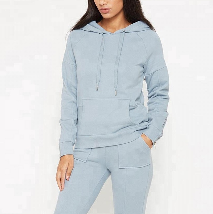 Stylish sports track suit customize slim fit zip sleeve women two piece suits