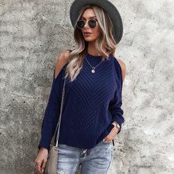 Новинка свитер осень-зима 2021 пикантный Топ с длинным рукавом и V-образным вырезом трикотажный топ с открытыми плечами
